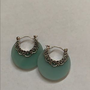 Artisan blue and silver hoop earrings